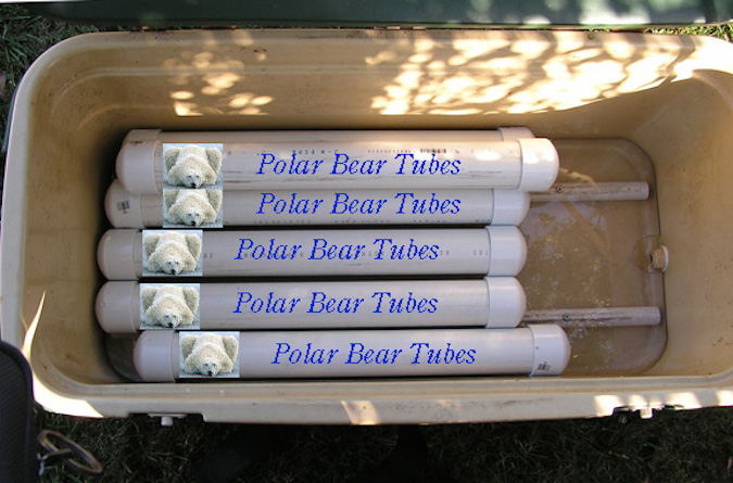 A whole bunch of polar bear tubes
