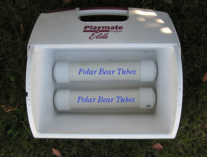 Custom polar bear tubes placed snug inside a cooler